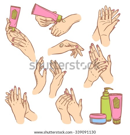 Daily hand cream application procedure steps pictograms set for women flat icons composition abstract isolated vector illustration - stock vector
