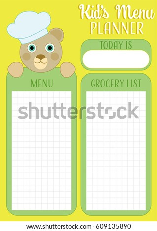 Daily Meal Planner, Kids Menu Planner Template With Date, Grocery List  Schedule And Funny  Daily Menu Planner Template