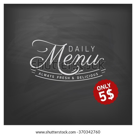 Daily Menu Design Element on Chalkboard - stock vector