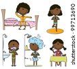 Daily Morning African-American Girls Life including wake up, yoga, teeth cleaning, shower and breakfast - stock vector