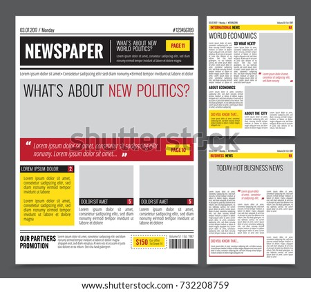 Daily Newspaper Colored Template Website Design Stock Vector 2018