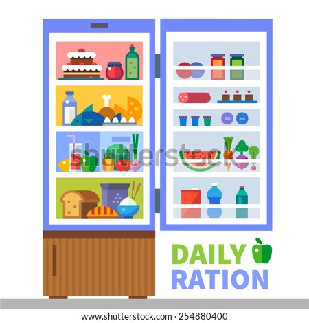 Daily ration. Proteins, fats, carbohydrates. Cereals, meat, fish, bread, milk, water, sweets. Refrigerator with food. Healthy lifestyle. Vector flat illustration and info graphic - stock vector