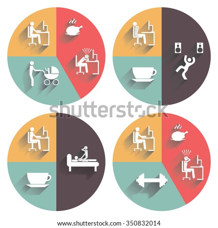 Daily routine. Illustration, elements for design. - stock vector