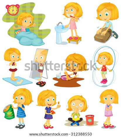 Daily routine of a girl illustration - stock vector