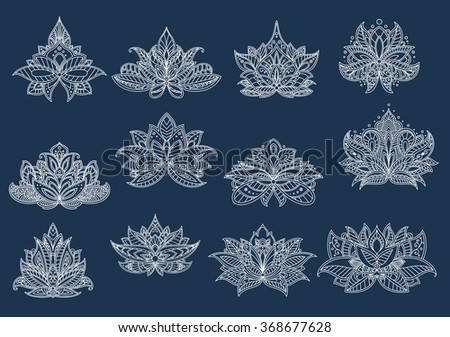 Dainty contoured paisley flowers with ornamental petals and leaves, adorned by openwork tracery in persian, turkish and indian style. Floral patterns for oriental carpet, tile or interior design  - stock vector