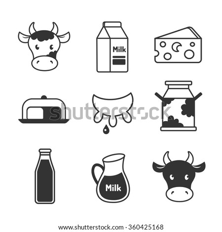 Dairy and milk icons set - stock vector