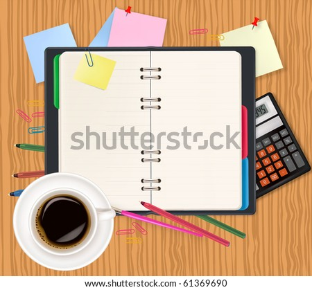 Dairy and office supplies. Vector. - stock vector