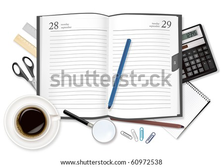 Dairy, calculator and office supplies. Vector. - stock vector