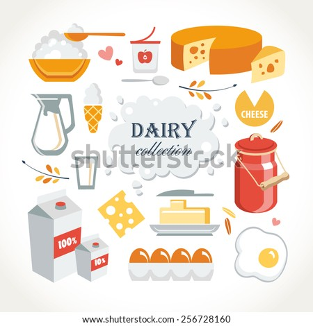 dairy collection - stock vector