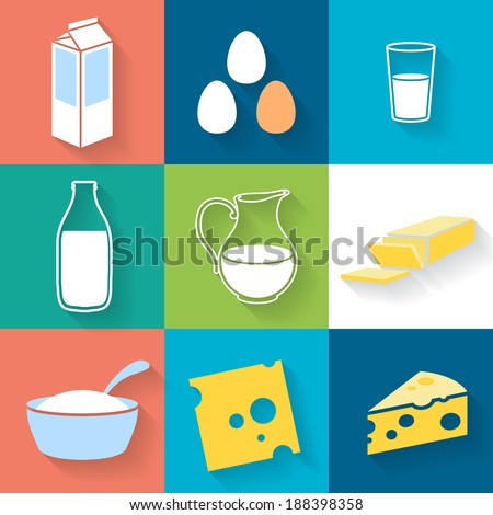 Dairy icons set - flat style. - stock vector