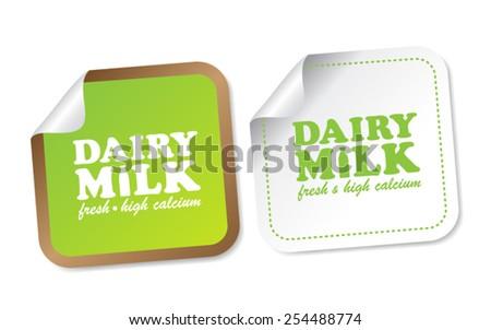 Dairy Milk Stickers - stock vector