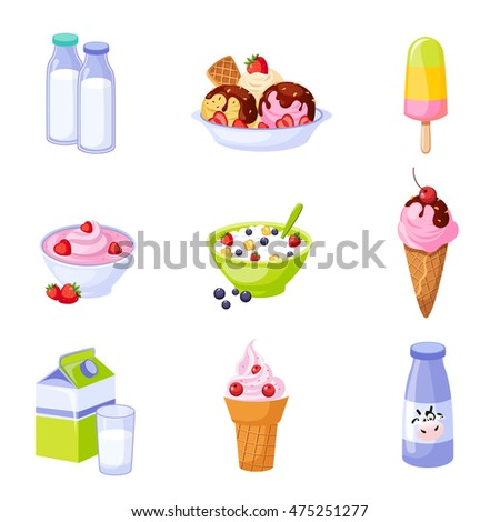 Dairy Products Assortment Set Of Isolated Icons