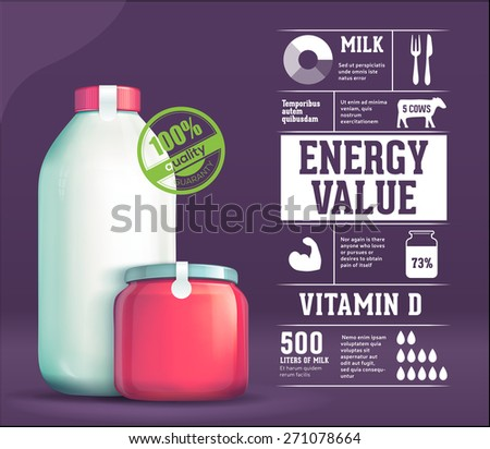 Dairy products infographics - stock vector