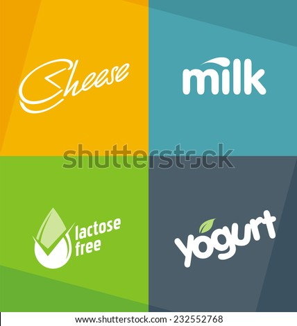 Dairy products logo designs templates. Milk cheese yogurt creative typography concepts.  Food symbols. Drink web icons. Healthy life style banners.  - stock vector