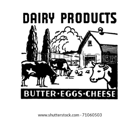 Dairy Products - Retro Ad Art Banner - stock vector