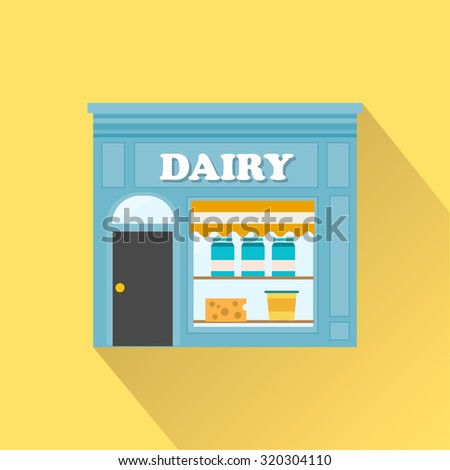 Dairy products shop, vector icon