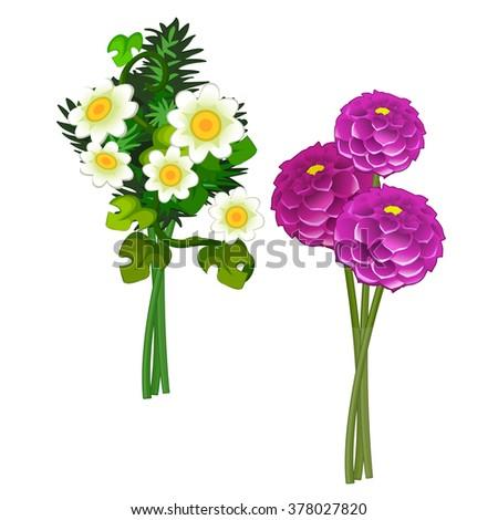 Daisies and dahlias. Vector. - stock vector