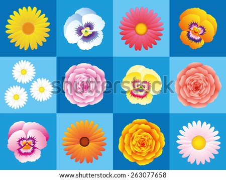 Daisies, pansies, asters, pinks, roses, a variation of colorful flowers on blue background for seamless wallpaper pattern. Vector illustration. - stock vector