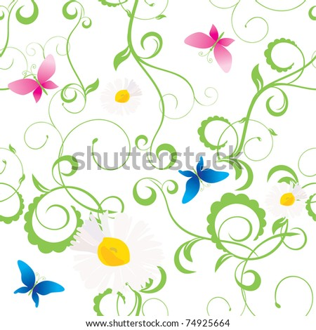 daisy and butterfly seamless - stock vector