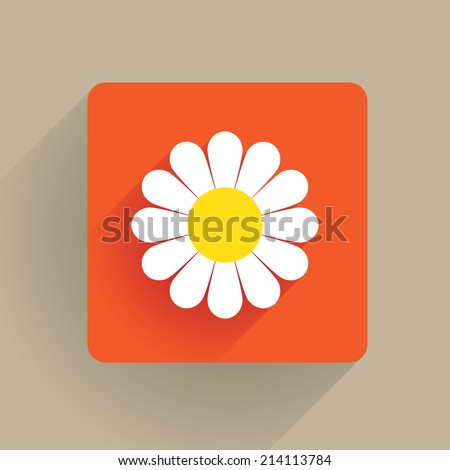 Daisy flower blossom in flat design - stock vector