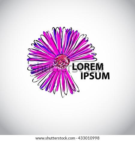 daisy flower object logo. Vector - stock vector