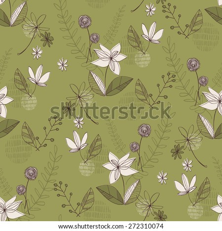 Daisy & Foliage Line Drawing Contemporary Floral Seamless Repeat Wallpaper - stock vector