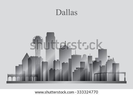 Dallas city skyline silhouette in grayscale, vector illustration - stock vector