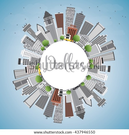 Dallas Skyline with Gray Buildings, Blue Sky and Copy Space. Vector Illustration. Business Travel and Tourism Concept with Modern Buildings. Image for Presentation Banner Placard and Web Site.