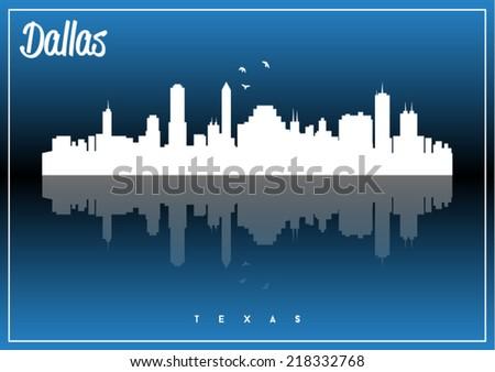 Dallas, Texas, USA skyline silhouette vector design on parliament blue background. - stock vector