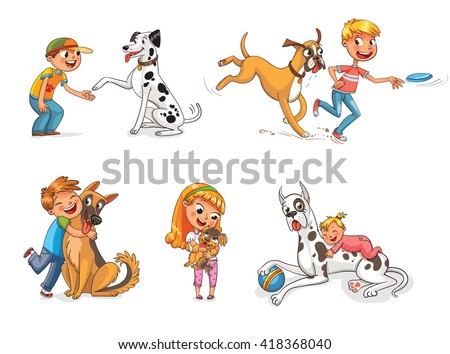 Dalmatian giving paw to a boy. Boxer dog playing with a boy in a frisbee. Child hugging his pet. Funny cartoon character. Vector illustration. Isolated on white background - stock vector