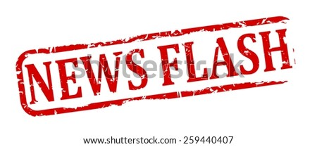 Damage to red oval stamp with the words - news flash - vector