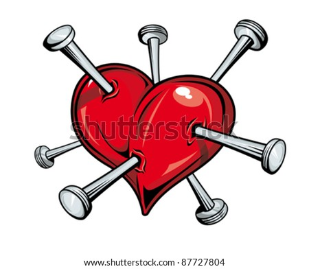 Damaged red heart with nails for love concept. Rasterized version also available in gallery - stock vector