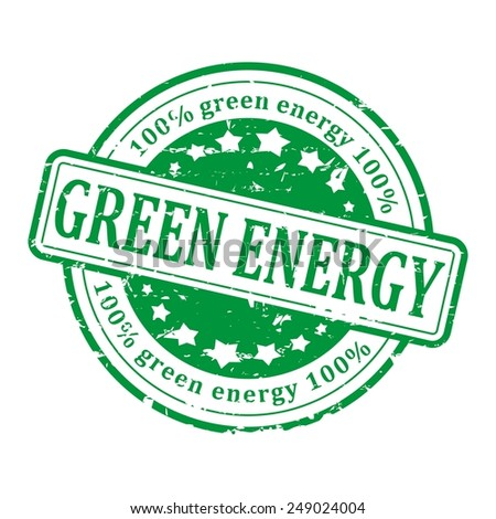 Damaged round green stamp with the word - green energy -vector - stock vector
