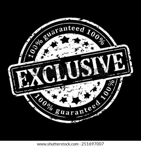 Damaged round white stamp on black background with the words - exclusive - vector