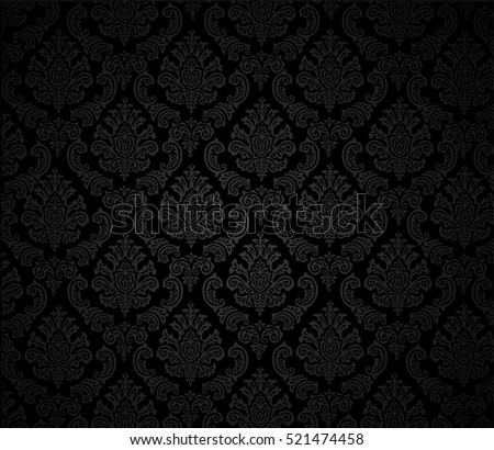 Damask background black, vector Illustration/ Editable Eps 10.