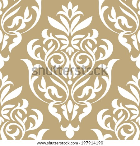 Damask beautiful background with rich, old style, luxury ornamentation, beige fashioned seamless pattern, royal vector wallpaper, floral wrapping paper, swatch fabric for decoration and design - stock vector
