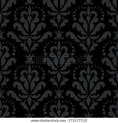 Damask beautiful background with rich, old style, luxury ornamentation, black fashioned seamless pattern, royal vector wallpaper, floral wrapping paper, swatch fabric for decoration and design - stock vector