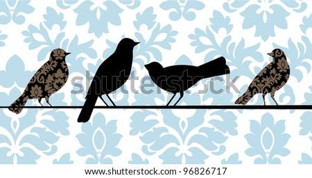 Damask birds - stock vector