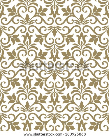 Damask elegant light wallpaper.Seamless vector background. White, brown texture. - stock vector