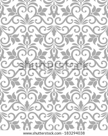 Damask elegant light wallpaper.Seamless vector background. White, gray texture. - stock vector
