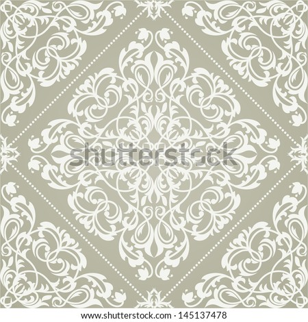 Damask elegant light wallpaper.Seamless vector background. White texture. - stock vector
