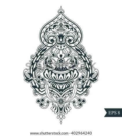 Menu celtic style vector design flower pattern zentangle ornament