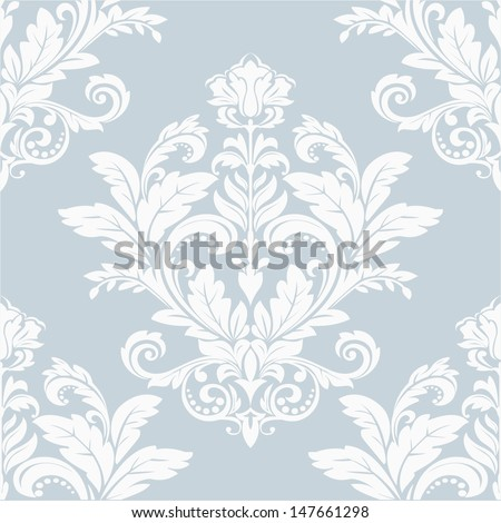 Damask  floral pattern. The wallpaper in the Baroque style. Seamless vector background. - stock vector
