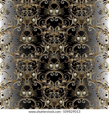Damask floral vector seamless pattern background wallpaper illustration with vintage 3d gold paisley flowers leaves and ornaments.
