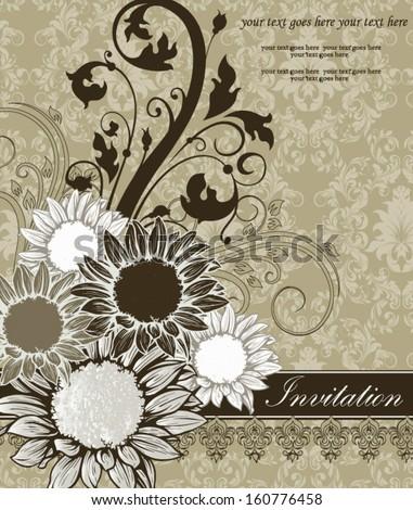 damask green invitation card - stock vector