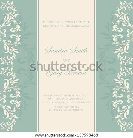 Damask green invitation floral card