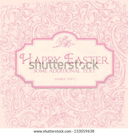 Damask ornament background. Easter Invitation or wedding announcement card. - stock vector