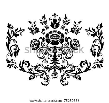 Damask ornament. Black and white. Illustration, vector. - stock vector