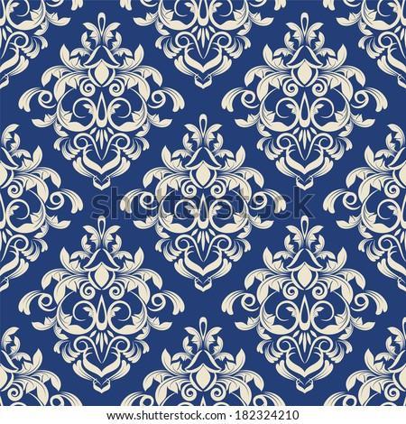 damask pattern. vector seamless wallpaper. flower background - stock vector