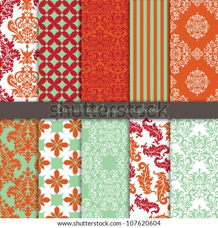 Damask Scrapbook Paper - stock vector